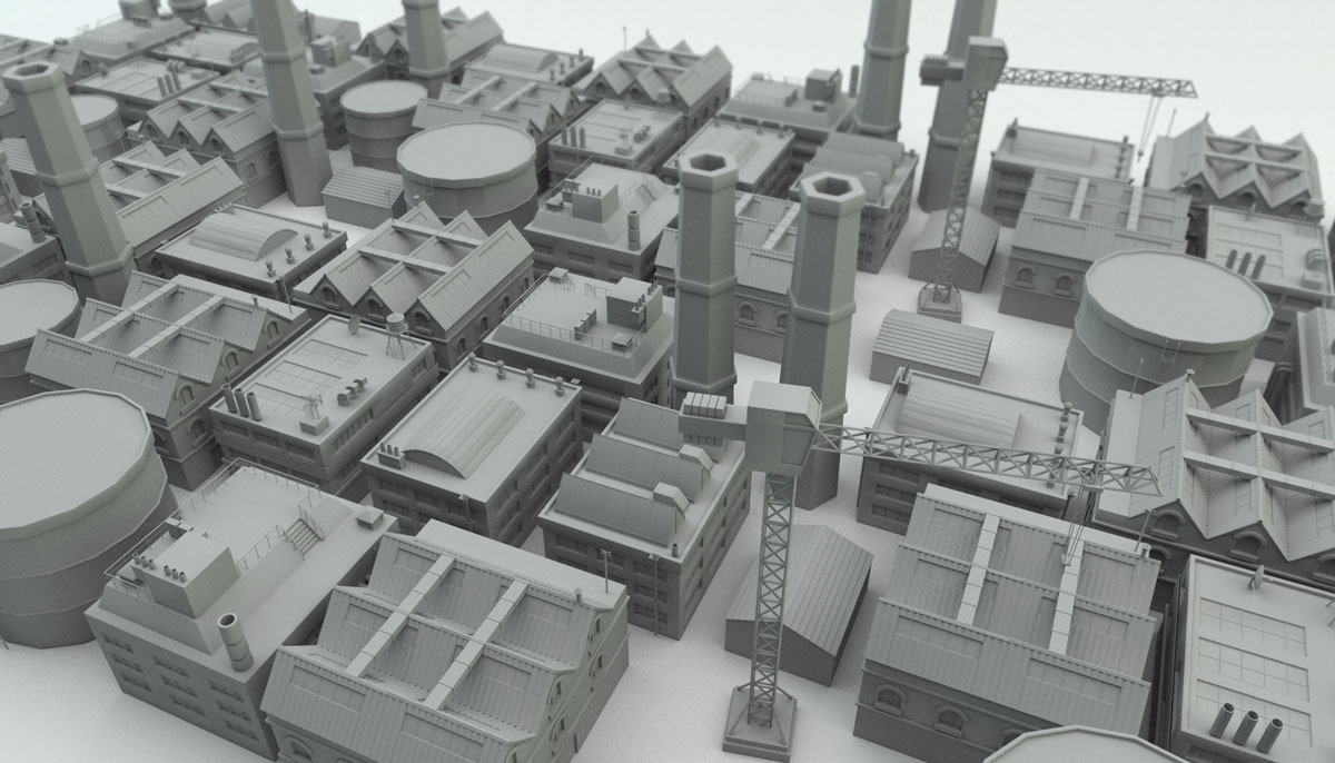3D one colour model of factory overview
