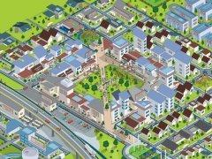 Colourful detailed isometric SIM City style vector town plan illustration