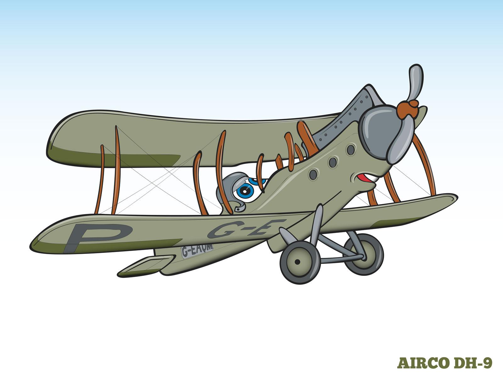 Cartoon style Humanising Bi plane Character