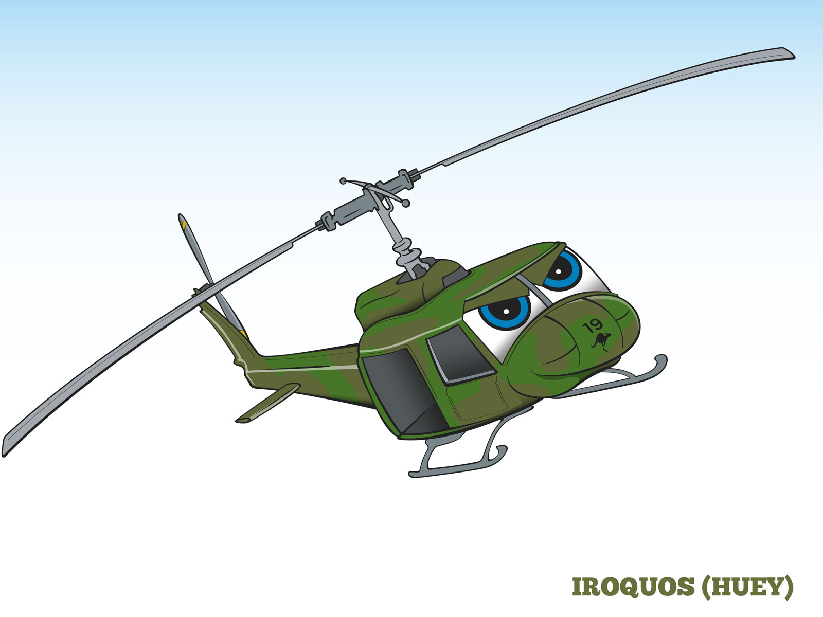 Cartoon style Humanising Helicopter Character