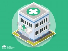 Clean colourful stylised Isometric hospital for Energy optimisation process infographic