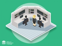 Sim city stylised Cartoon isometric technical work station for Energy optimisation process infographic
