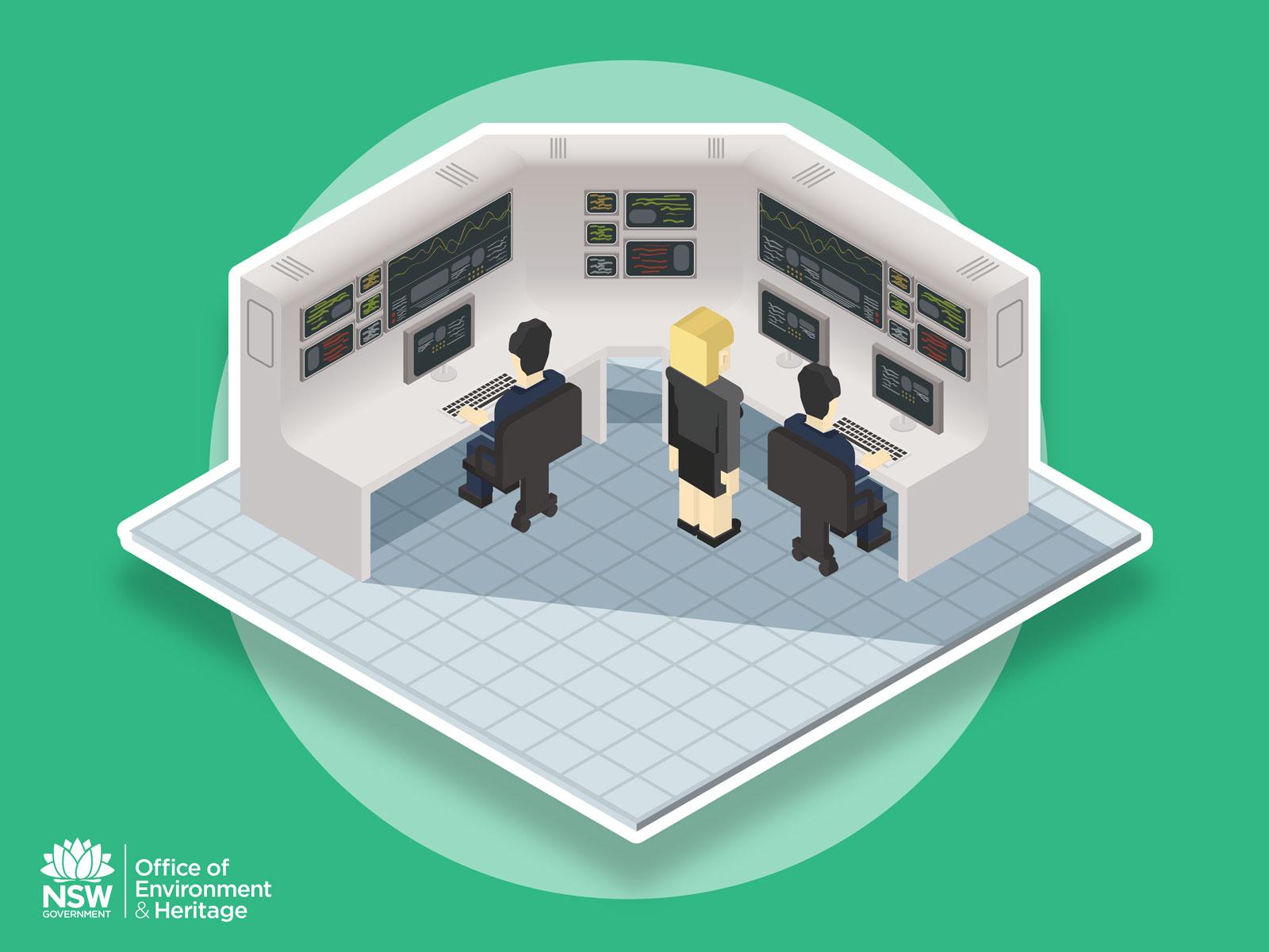 Sim city stylised Cartoon isometric technical work station for Energy optimisation process infographic