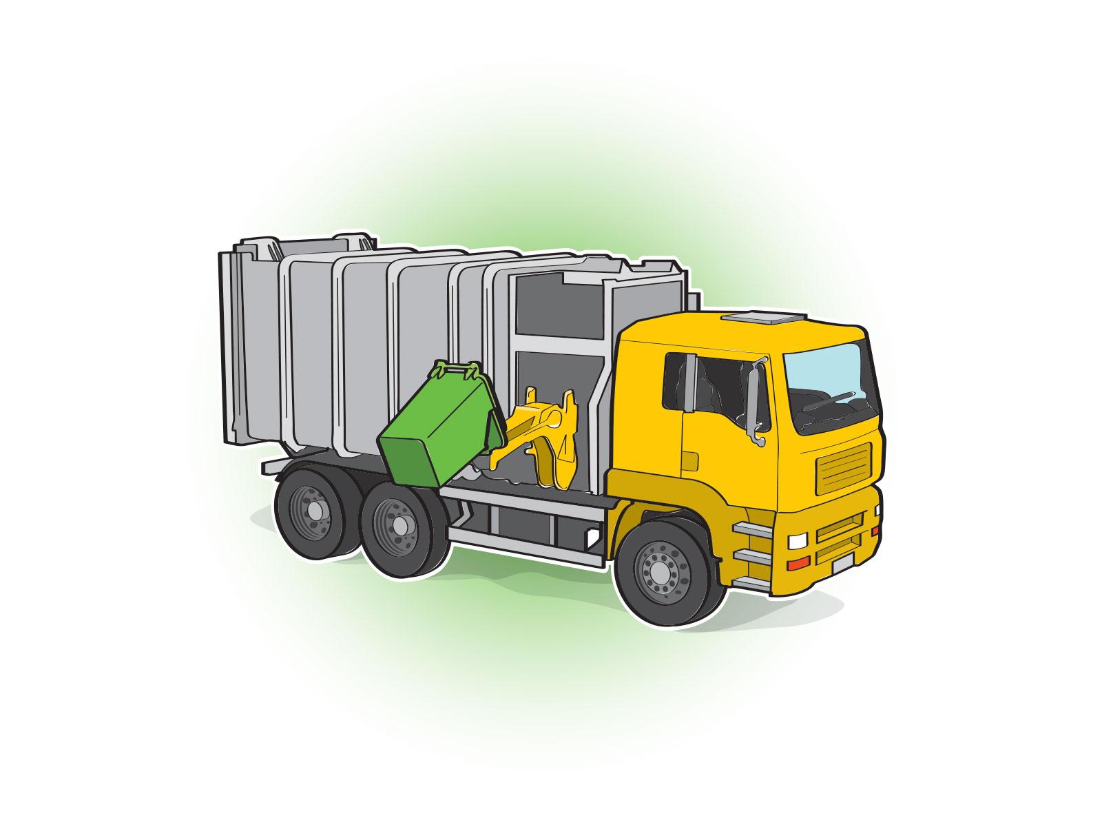 Stylised vector simplified illustration of rubbish truck emptying wheelie bin