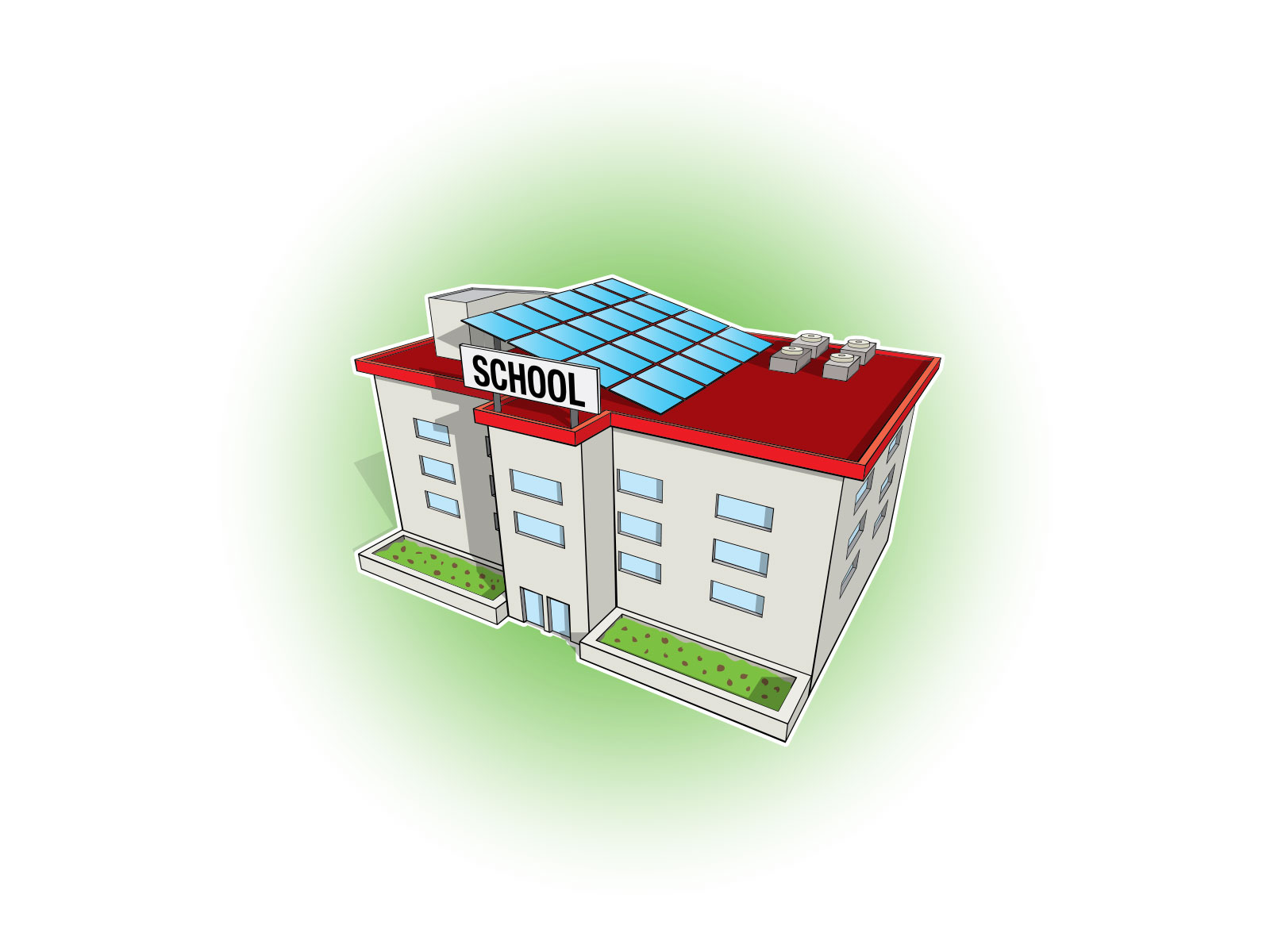 Stylised vector illustrations of school with solar panels