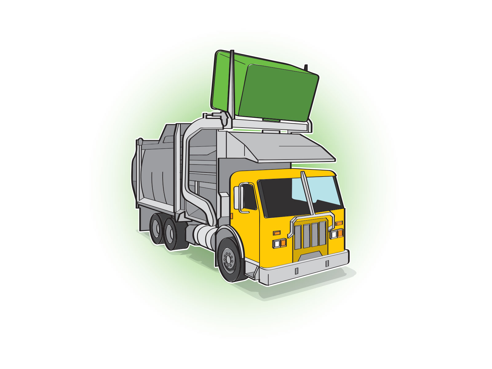 Stylised vector simplified illustration of rubbish truck emptying large skip