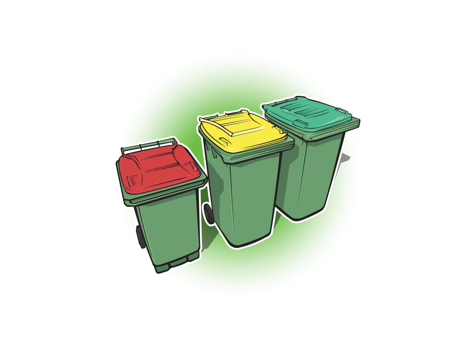 Stylised illustration of wheelie bins