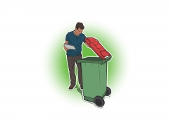 Stylised vector illustration of man inspecting red wheelie bin
