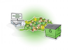 Stylised vector illustration of waste management centre with large skip