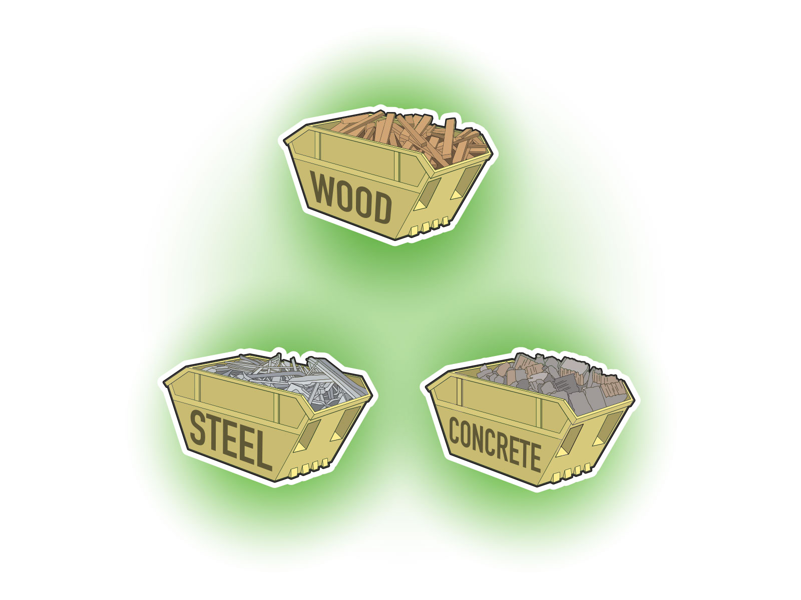 Stylised vector illustrations of large waste skips for building waste