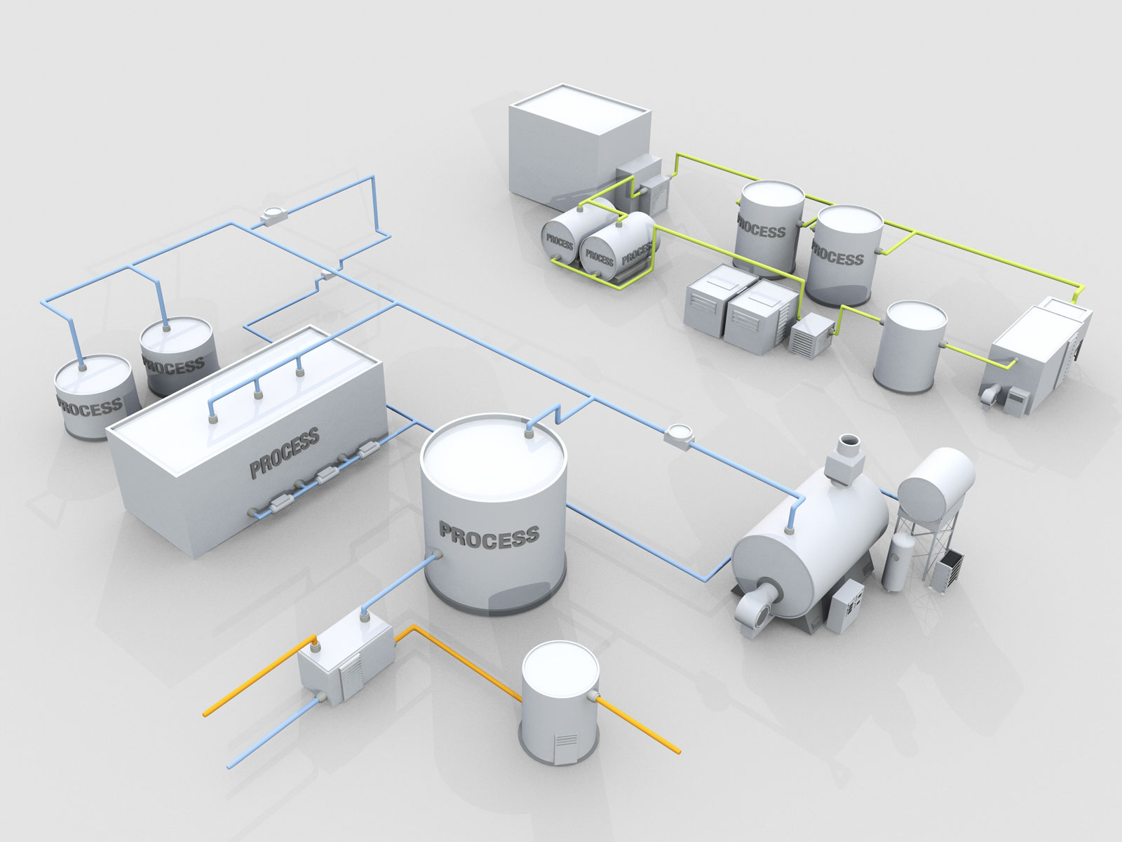 3D technical process model of Steam Loop and Hot water Loop overview