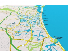 Gold Coast tourist road map illustration for print and online