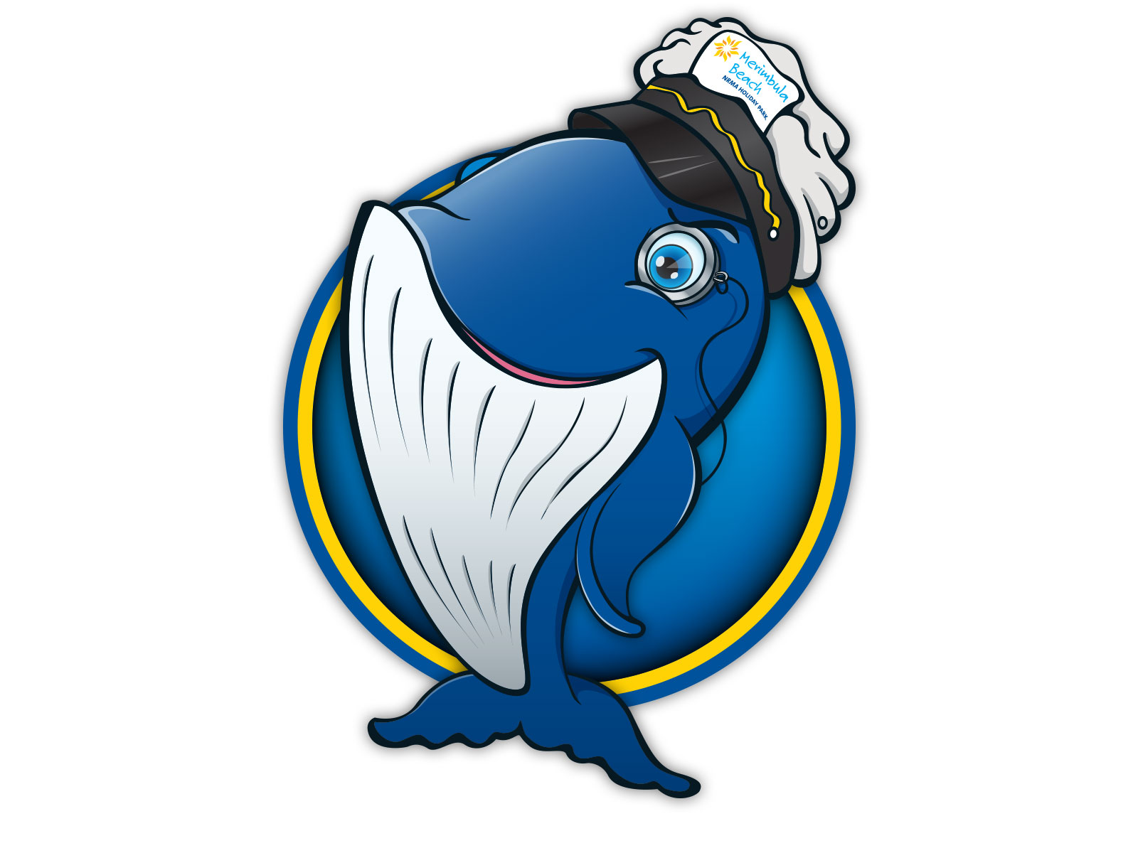 Colourful cartoon style whale character illustration for mascot
