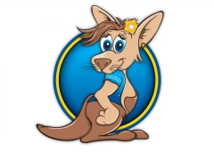 Colourful cartoon style kangaroo character illustration for mascot