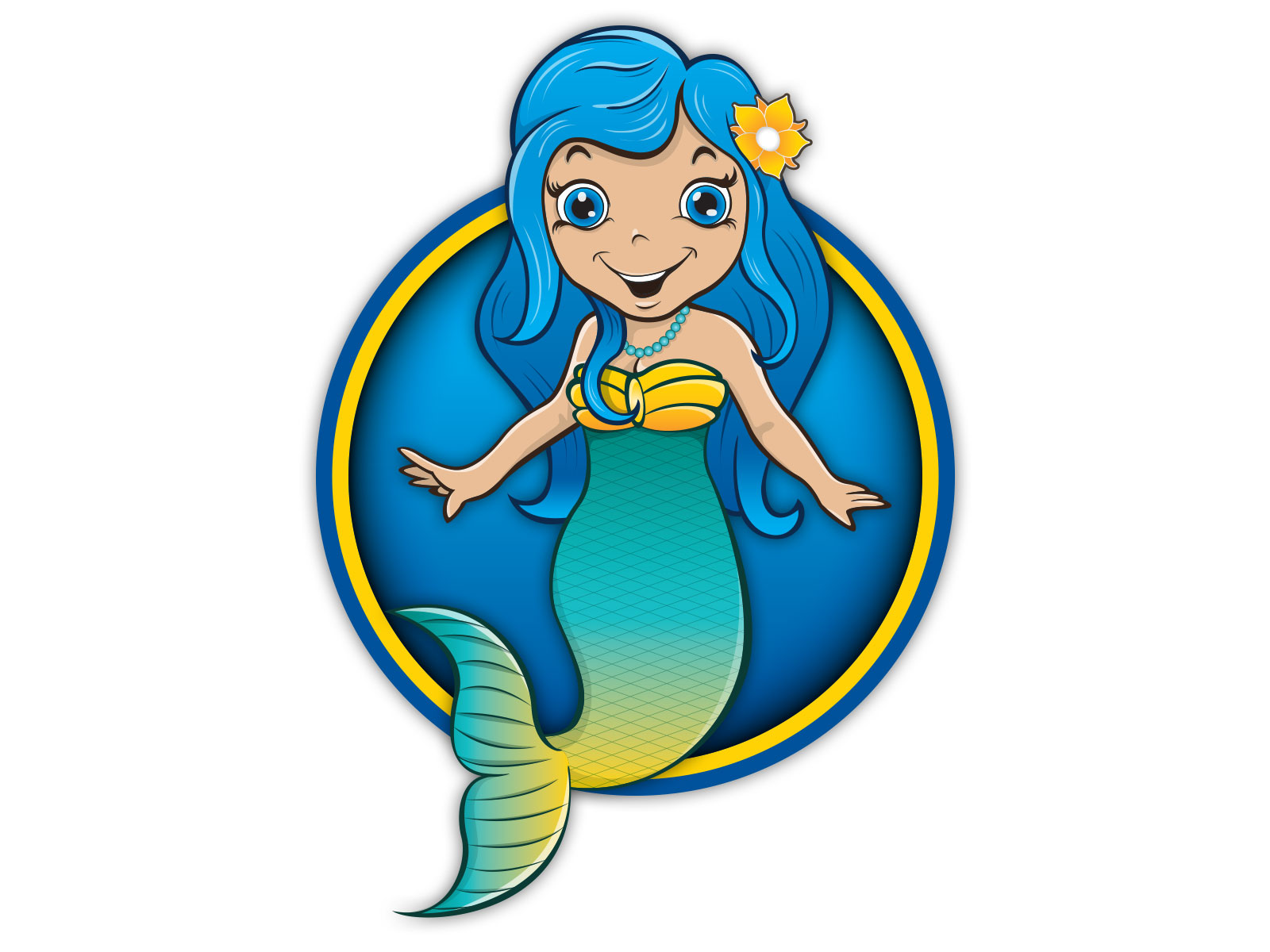 Colourful cartoon style mermaid character illustration for mascot