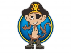 Colourful cartoon style pirate monkey character illustration for mascot