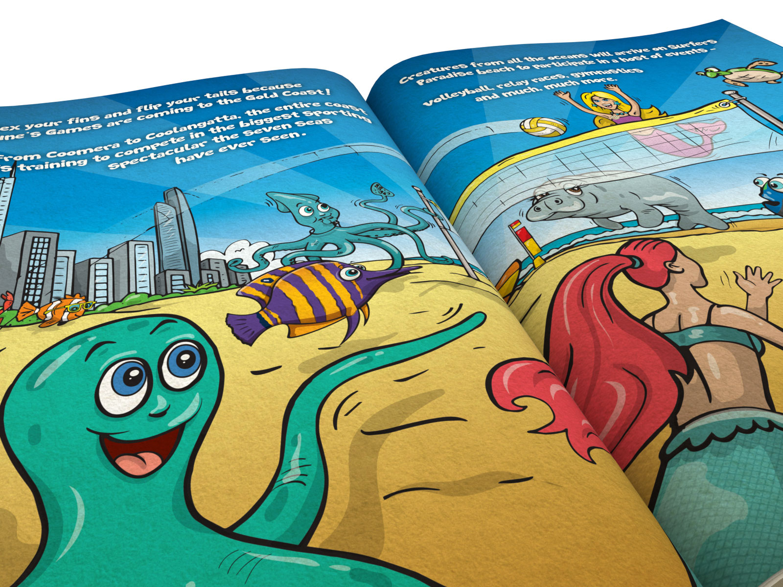 Colourful cartoon style children's book illustrations with various interesting characters