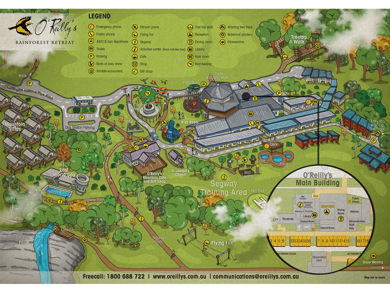 Detailed colourful earthy cartoon stylised birds eye view aerial map of resort