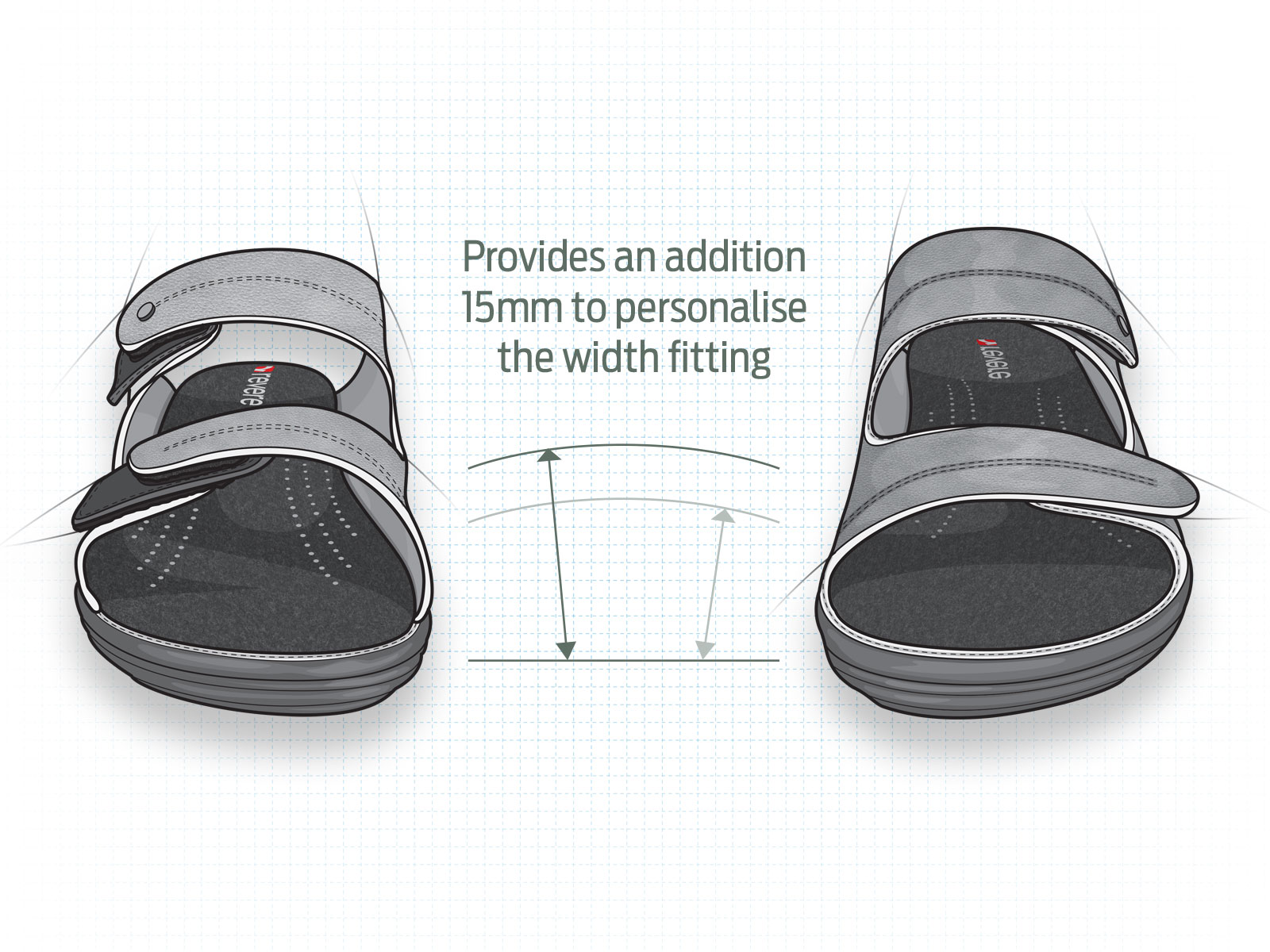 Technical informative medical footware illustration