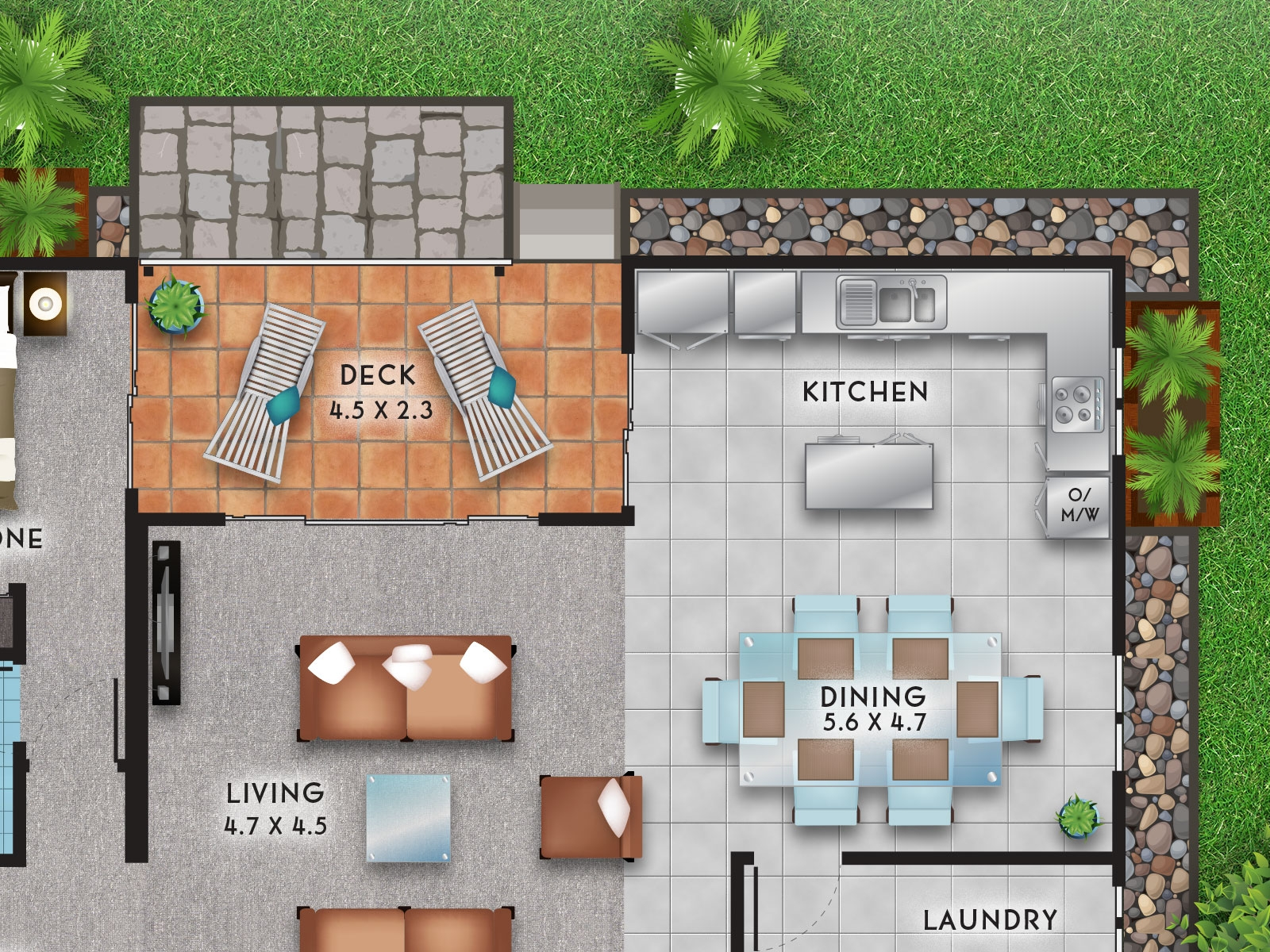 Colourful detailed top view vector high quality floor plans