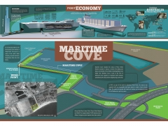 Mixed media Infographic interpretative Map Signs for Port of Melbourne