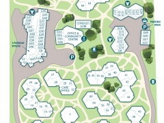 Easy to read vector directional village map illustration