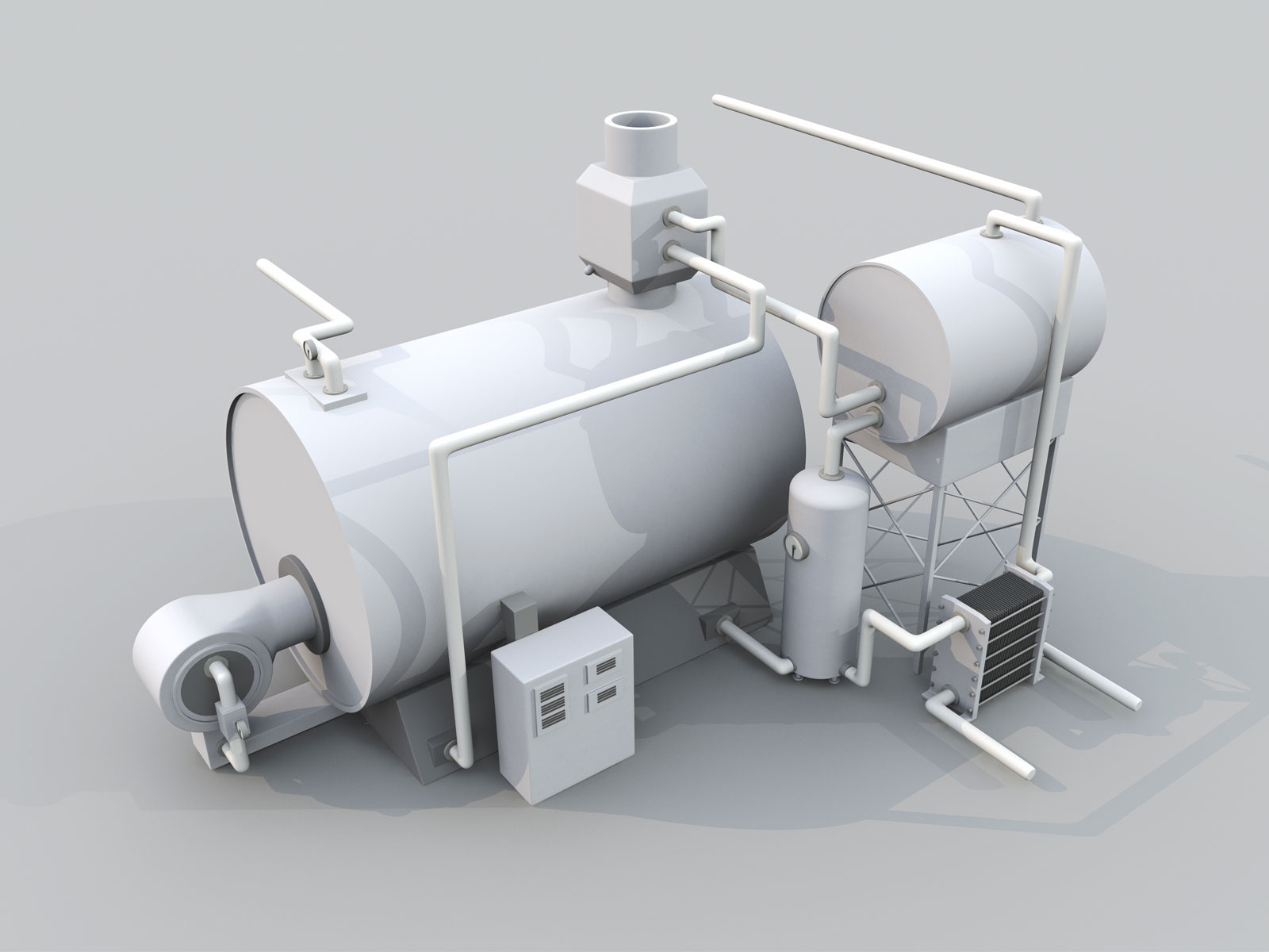 3D Technical Model of Boiler closeup detail