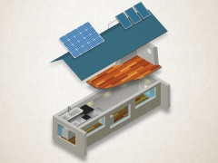 Blowout of a house showing solar panels