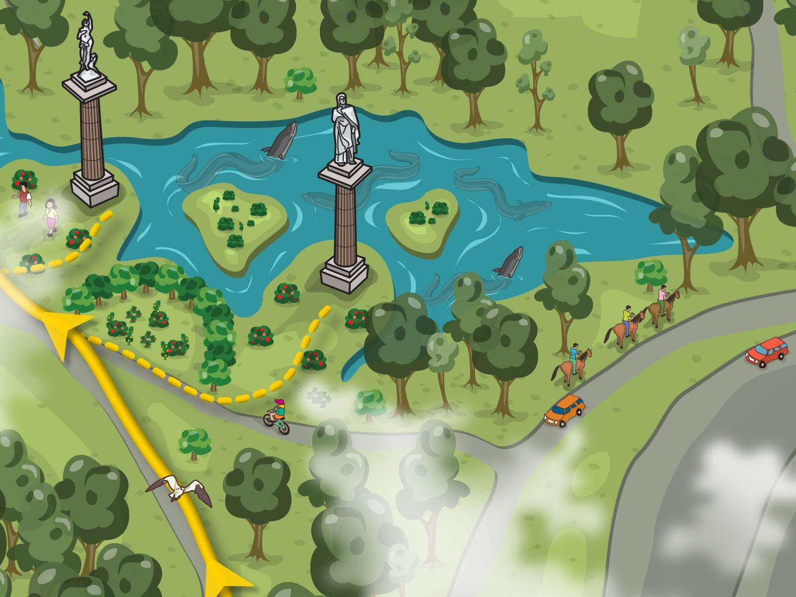 Interesting cartoon style birds eye view walking trail map for brochure
