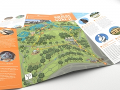 Interesting cartoon style birds eye view walking trail map for brochure