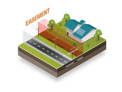Isometric illustration depicting restricted zone for power lines