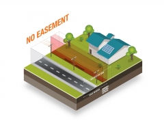 Easement space isometric illustration street and house top view