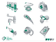 Detailed 3D perspective corporate medical icons