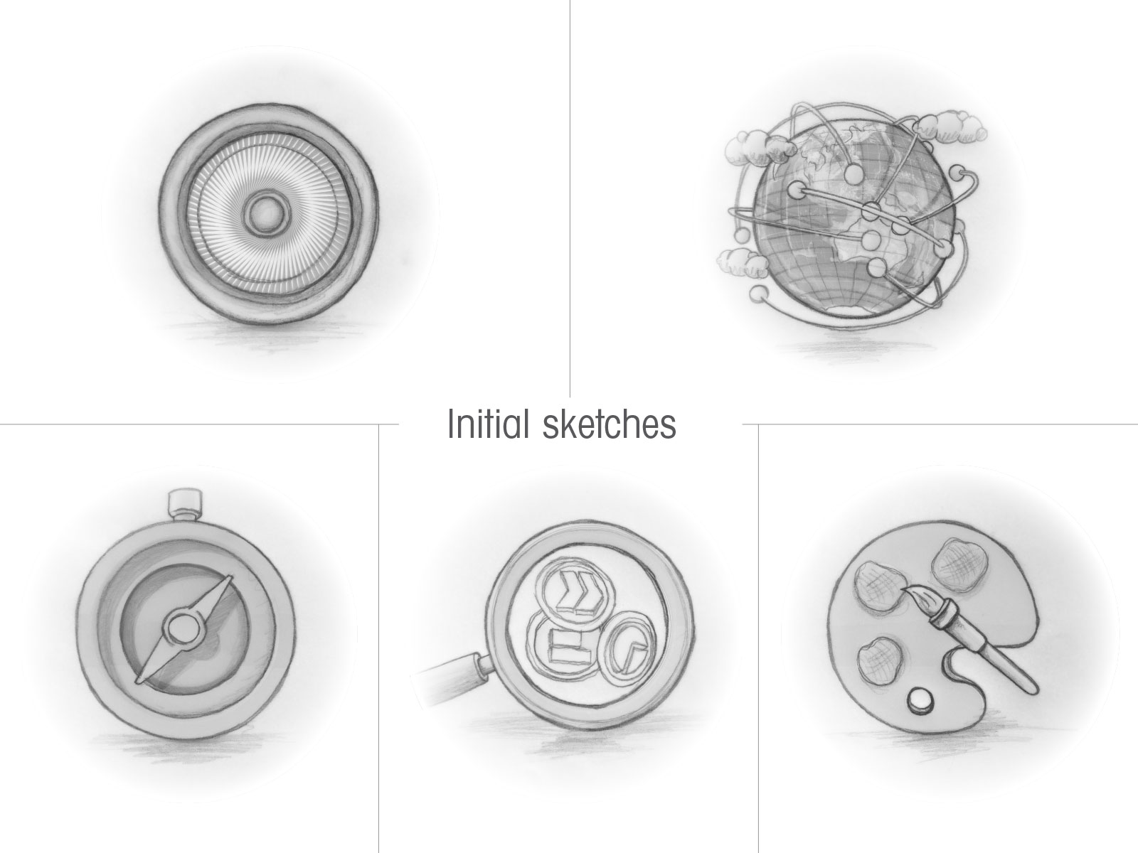 Initial pencil sketches of icon set