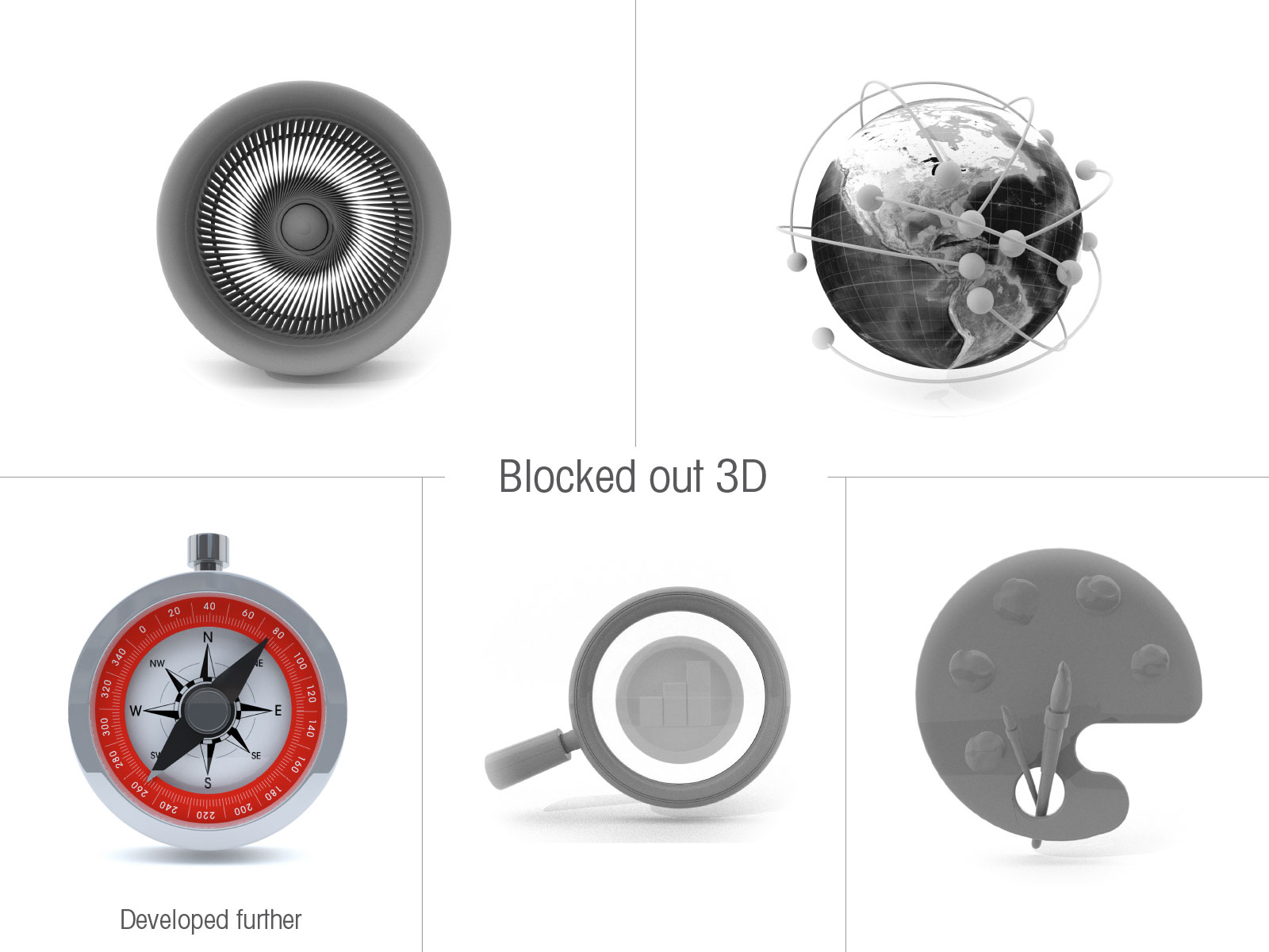 3D simplified icon set