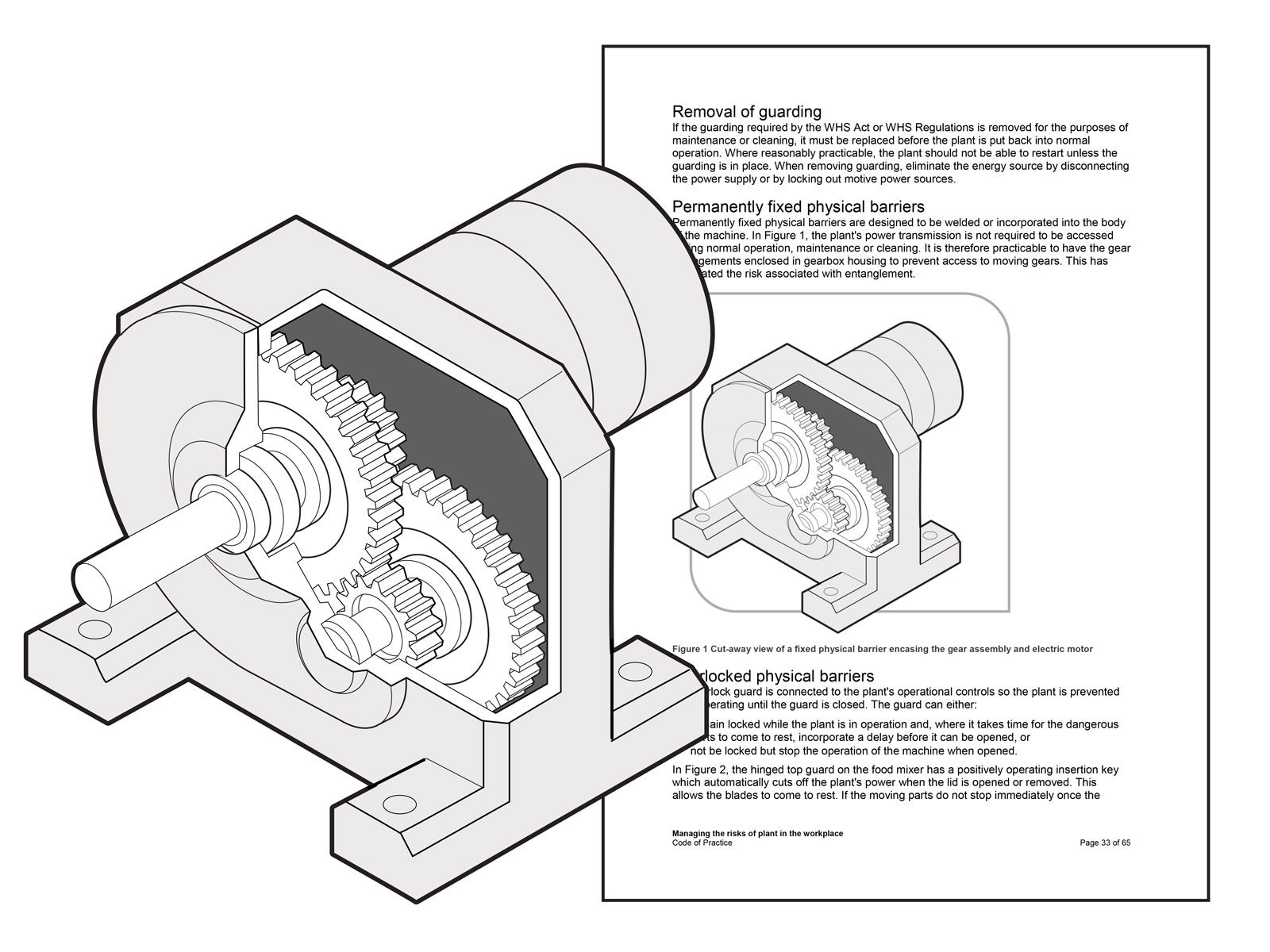 Cutaway of a fixed barrier encasing a gear assembly
