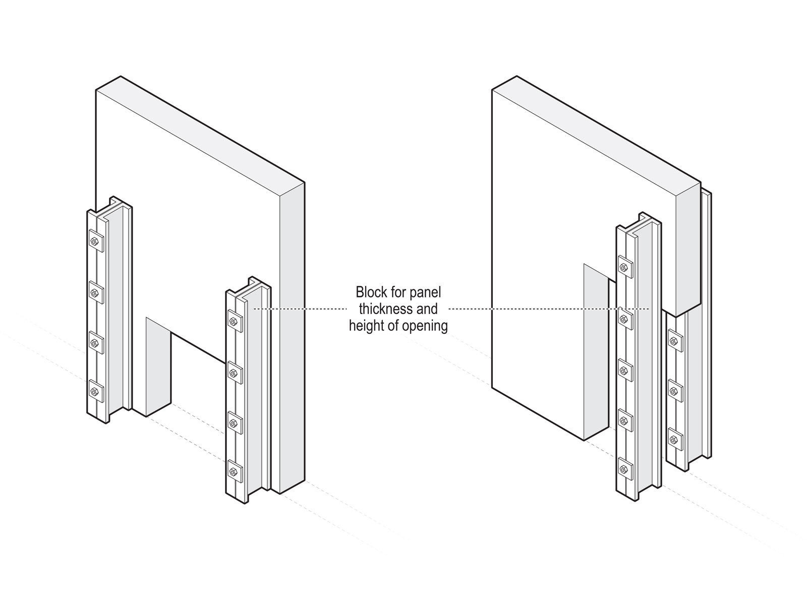 Diagrams for correct application of steel brace for concrete structure